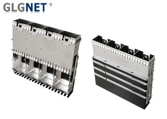 China Press Fit 4 Ports Sfp Cage Connector Copper Alloy For 25G Ethernet supplier