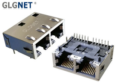 China RJ45 Dual Connector 2 Ports Right Angle Ethernet Jack Tab Down 1G Magnetic PIP Mounting supplier