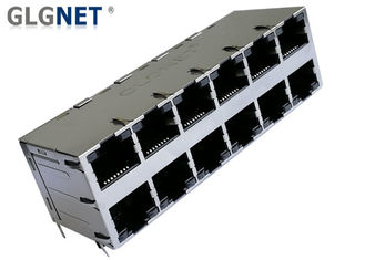 China DIP Mounting Magnetic RJ45 Connector 1G Integrated 2x6 Stacked ICM For Wed Servers supplier