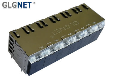 China Copper Alloy Stacked RJ45 Connectors 12 Ports Pcb Rj45 Jack 1000 BASE - T With Latch supplier