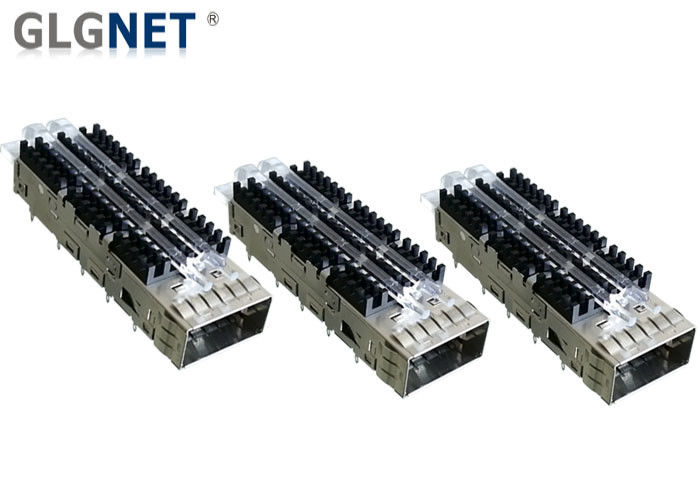 Light Pipes Compatible Single Port QSFP Cage With QSFP14 Transceiver