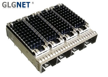 China 1 x 4 Ganged SFP Cage Connector 0.25 Mm Copper Alloy With Heat Sink Compatible factory