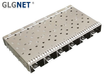 China 0.25 Mm Thickness SFP Cage Connector 1 x 6 Stacked 1 Piece Stamped Formed Metal factory