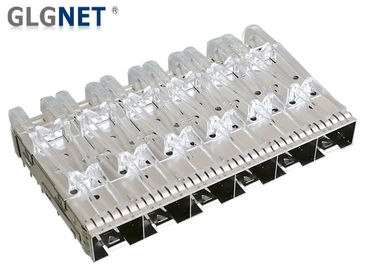 China Press Fit SFP Cage 1x6 Multiple Port With EMI Finger Spring Light Pipes factory