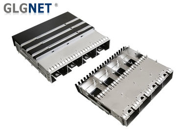 One Piece Metal Sfp Port Connector 4 Ports With Heat Sink EMI Springs