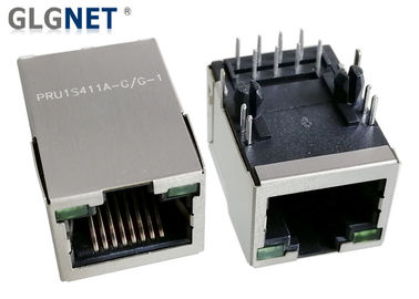 China Single Port  Magnetic RJ45 Jack 10 / 100 Base - T Integrated With LED NO EMI Tabs factory