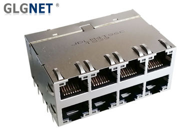 China 8P8C 2x4 RJ45 Gigabit Connector 5G Ethernet Magnetic Jack 8 Ports With Light Pipes factory