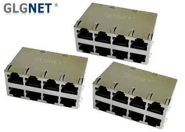 Multiple Port POE RJ45 Connector 2x4 Stacked 1G 0.2mm Brass Shield Material