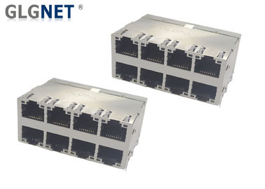 Stacked Structure Right Angle Ethernet Jack 60W UPOE+ 10G RJ45 720mA MAX per pair